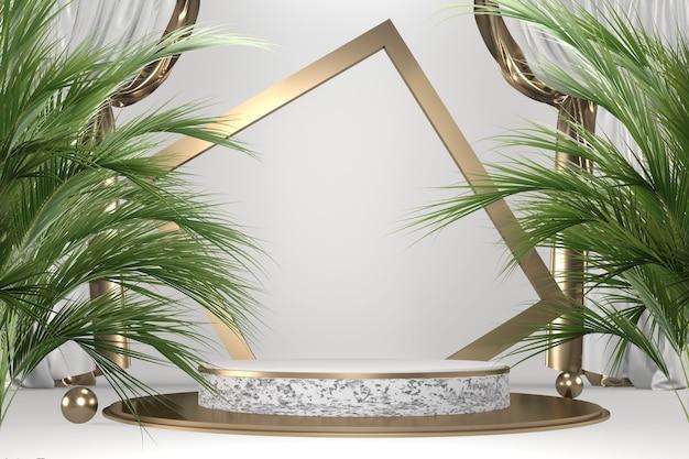 Tropischer granit podium geometrische und pflanzendekoration auf weißem hintergrund .3d-rendering
