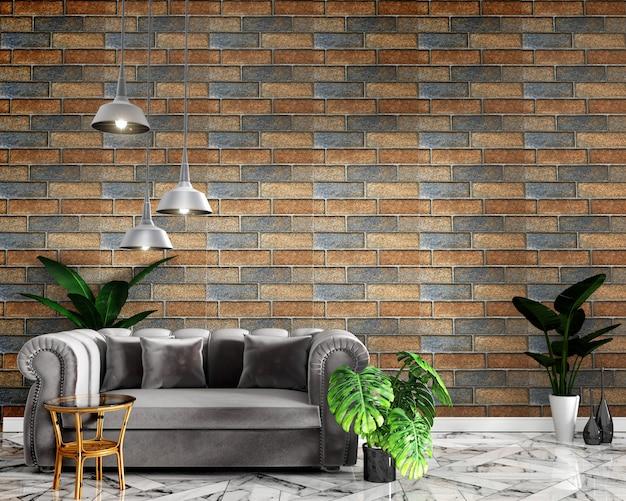Tropischer innenraumspott oben mit sofadekoration und backsteinmauer auf granitboden
