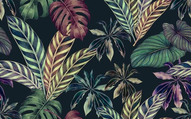 Tropischer naturhintergrund des aquarells mit nahtlosem musterhintergrund der hand gezeichneten palmblätter.