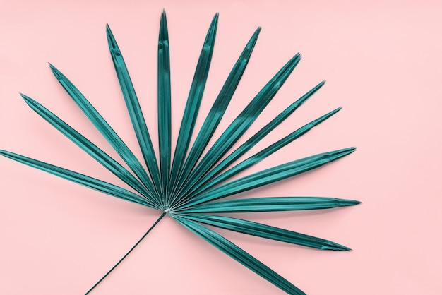 Tropischer palmblatt-hintergrund flach lay pink