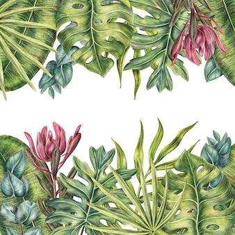 Tropischer rahmen mit palmenblättern, oberem und unterem hintergrund