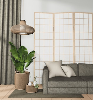 Tropischer rauminnenraum mit sofa- und pflanzendekoration auf holzboden
