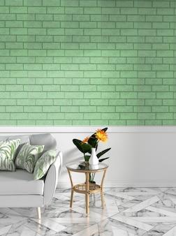 Tropischer spott oben mit sofa und dekoration und grüner backsteinmauer auf granitboden