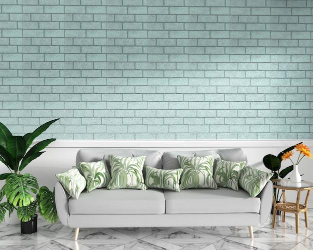 Tropischer spott oben mit sofa und dekoration und tadelloser backsteinmauer auf granitboden