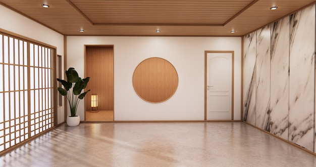 Tropischer stil des innenwohnzimmers mit wandgranit design.3d rendering