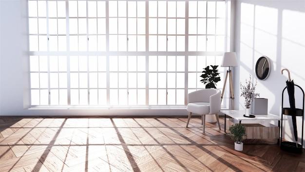 Tropischer stil des wohnzimmers mit sessel