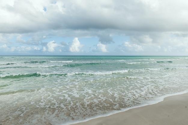 Tropischer strand herrliche aussicht klarer weißer sandstrand im sommertag wellen des blauen meeres brechen am sonnigen strand kuba palmen strandlandschaft beach