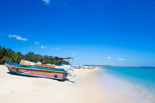 Tropischer strand in sri lanka. sommerferien und urlaubskonzept für den tourismus.