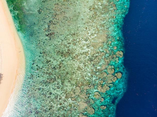 Tropisches karibisches meer des luft-korallenriffs der draufsicht unten, türkisblaues wasser. indonesien molukken-archipel, banda-inseln, pulau hatta. topreiseziel, bestes tauchen, schnorcheln.