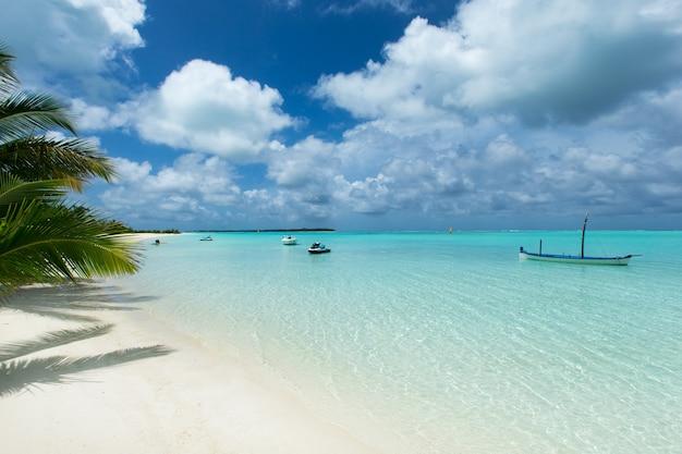 Tropisches meer unter blauem himmel. meereslandschaft.