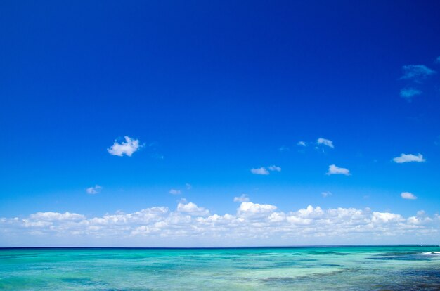 Tropisches meer unter blauem himmel