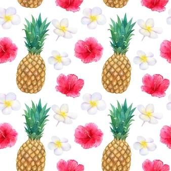 Tropisches muster mit schönen rosa roten blumen hibiskus und weißem frangipani oder plumeria und ananas. nahtlose textur. hand gezeichnete aquarellillustration.