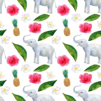 Tropisches muster mit schönen rosa roten blumen hibiskus und weißem frangipani oder plumeria und ananas und elefant. nahtlose textur. hand gezeichnete aquarellillustration.