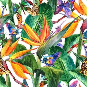 Tropisches nahtloses muster mit exotischen blumen