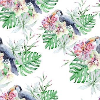 Tropisches nahtloses muster mit vogelblättern und -blumen. pfingstrose. tukan. monstera. orchidee. aquarellillustration. handgemalt.
