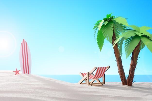 Tropisches stillleben. morgendämmerung an der sandigen küste mit palmen. eine chaiselongue und ein surfbrett am strand