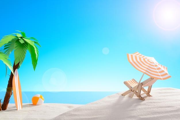 Tropisches stillleben. morgendämmerung an der sandigen küste mit palmen. sonnenliege, ball und surfbrett am strand