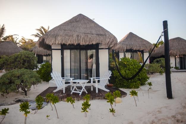Tropisches strandhaus auf ozeanufer unter palmen