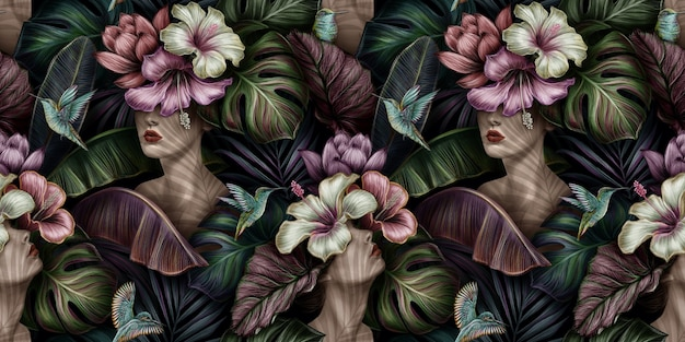 Tropisches weinlese nahtloses muster mit frauen, hibiskus, proteablumen, colibri-vögeln, bananenblättern, monstera, palme, colocasia esculenta
