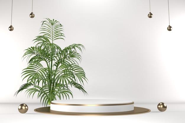 Tropisches weißes podium geometrische und pflanzendekoration auf weißem hintergrund .3d-rendering Premium Fotos