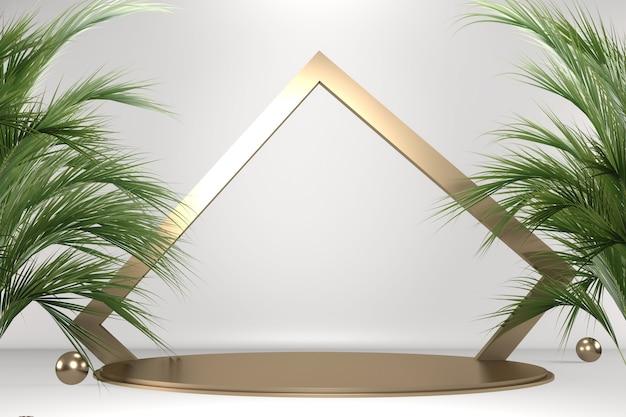 Tropisches weißes podium geometrische und pflanzendekoration auf weißem hintergrund .3d-rendering