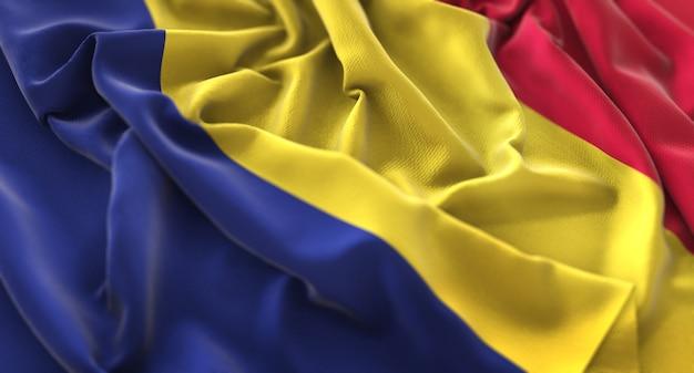 Tschad flagge gekräuselt wunderschön winken makro nahaufnahme schuss