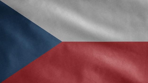 Tschechische flagge, die im wind weht. nahaufnahme der tschechischen schablonenblase, weiche und glatte seide