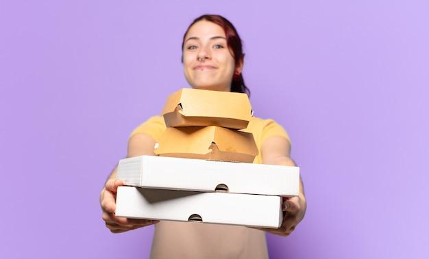 Tty frau mit fast-food-boxen zum mitnehmen