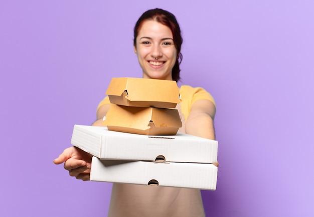 Tty-frau mit fast-food-boxen zum mitnehmen