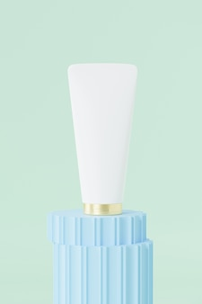 Tube für kosmetik auf blauem säulenpodest