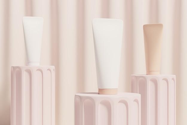 Tuben für kosmetikprodukte auf podien