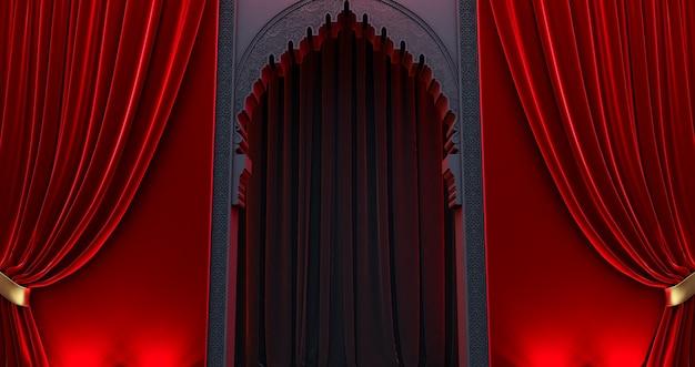 Tür im arabischen orientalischen stil, schwarze arabische tür mit rotem vorhang