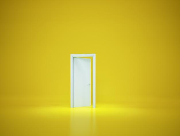 Tür offen auf gelbem hintergrundminimal concept3d-rendering