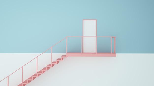 Tür-papierkunstkonzept pastellfarbhintergrund -3d wiedergabe