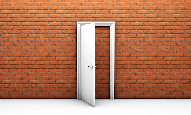 Tür zu nirgendwo in einem weißen raum, kein ausweg 3d-rendering