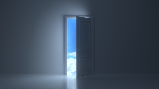 Türen öffnen sich, um schönen himmel in dunkelgrauem raum zu enthüllen