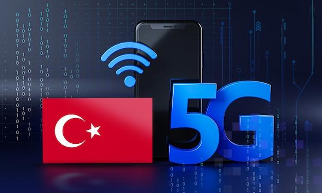 Türkei bereit für 5g-verbindungskonzept. hintergrund der 3d-rendering-smartphone-technologie