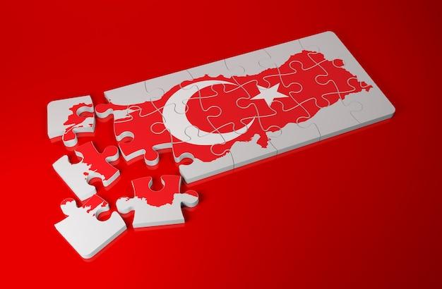 Türkei hap mit flagge als puzzle - 3d-rendering