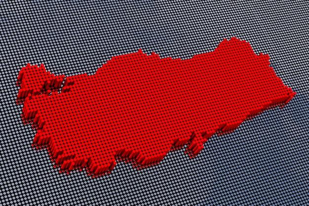Türkei karte im pixel-art-stil. 3d-rendering