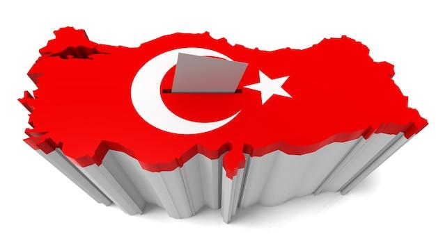 Türkei karte wahlurne mit türkischer flagge isoliert auf weißem hintergrund