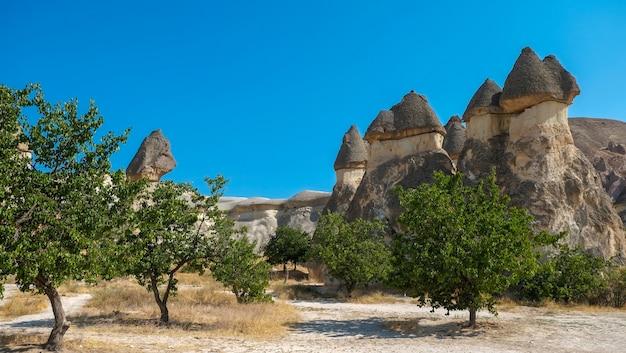 Türkei landschaft fairy schornsteine in der nähe von cavusin stadt in goreme cappadocia türkei reisen tourismus und wahrzeichen - die drei schönheiten bei urgup