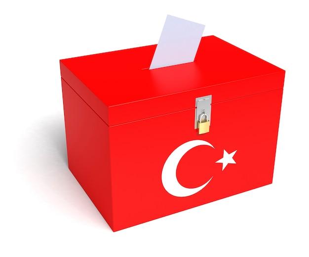 Türkei wahlurne mit türkischer flagge. isoliert auf weißem hintergrund.