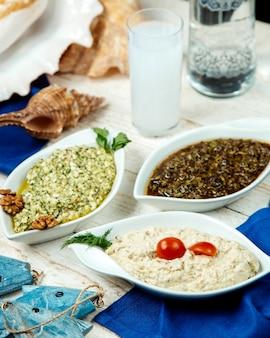 Türkische beilagenplatte und türkischer raki
