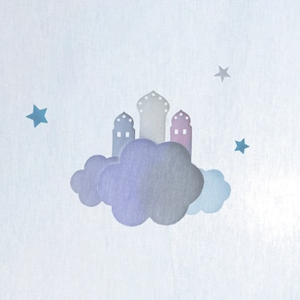 Türme und sterne auf wolken