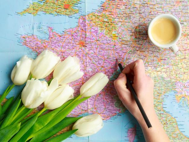 Tulpen auf der weltkarte, die idee einer geschenkreise zum valentinstag