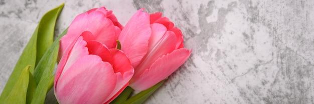 Tulpen auf hellgrauem hintergrund