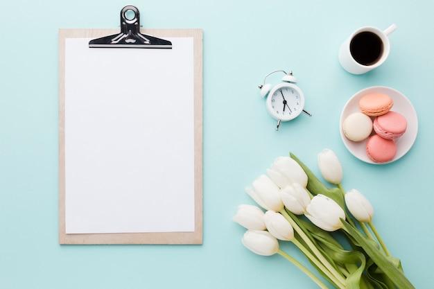 Tulpenblumen mit blattanordnungs-morgenprogramm