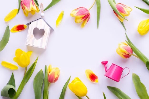 Tulpenblumen, vogelhaus, gießkanne auf weißem hintergrund
