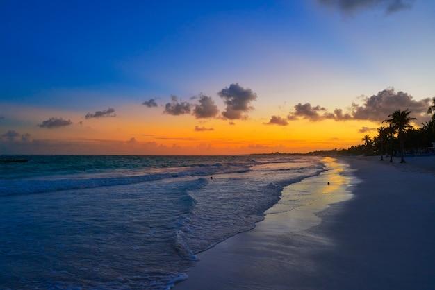 Tulum-strandsonnenuntergang-palme riviera maya