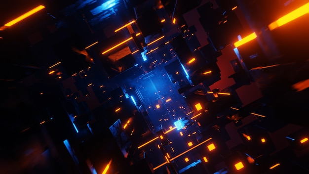 Tunnel scifi looping-umgebung technologie digitaler abstrakter hintergrund